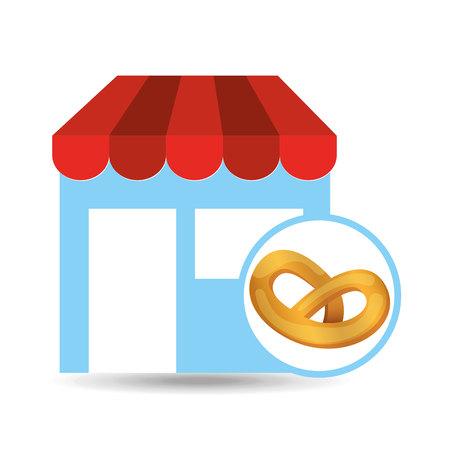 bakery store: fresh pretzel store bakery products, vector illustration Illustration