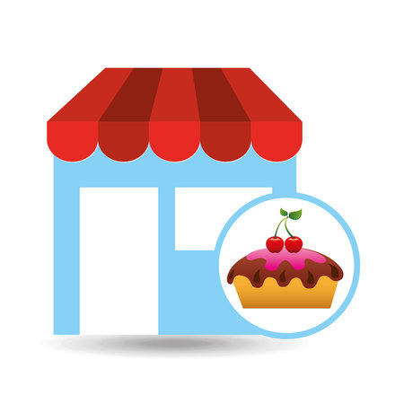 selling fresh cake, bakery products, vector illustration