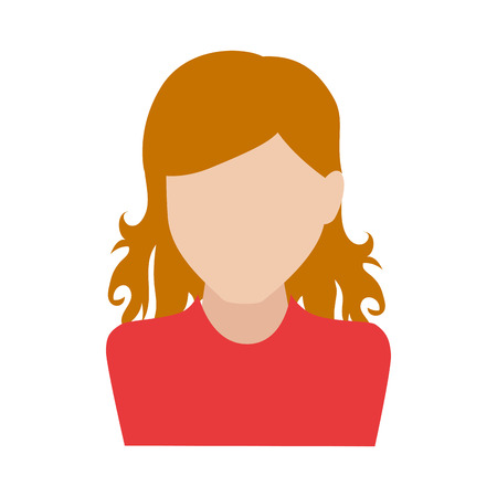 head and shoulder: woman girl female person curly hair  face head human vector graphic isolated and flat illustration