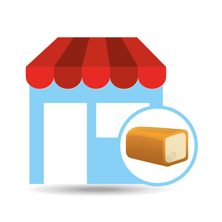 bakery products: selling fresh loaf, bakery products, vector illustration