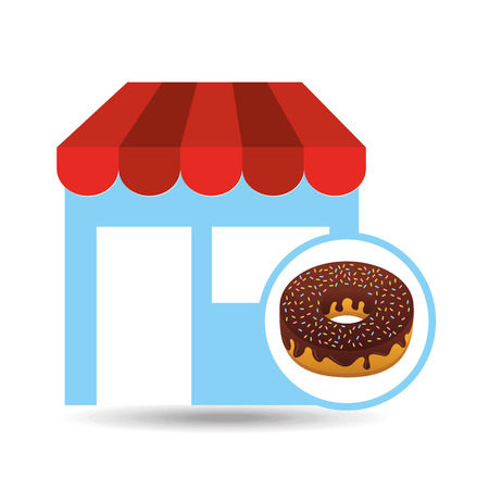 selling fresh donuts, bakery products, vector illustration Illustration