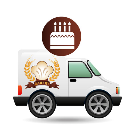 bakery products: transport of fresh bakery products, vector illustration