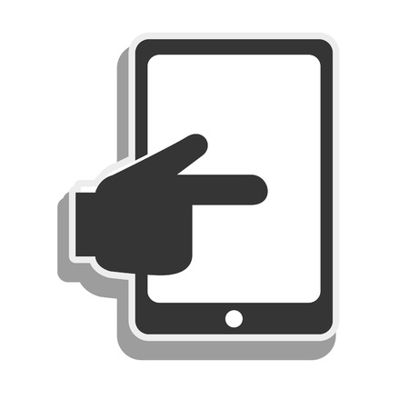 touch screen hand: tablet touch hand screen touching finger electronic device vector graphic isolated and flat illustration
