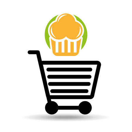 bakery products: shopping muffins, fresh bakery products, vector illustration Illustration