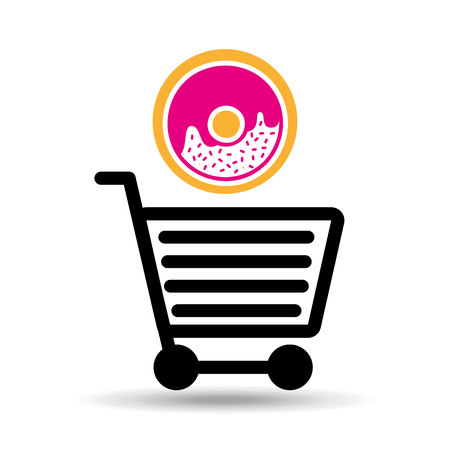 bakery products: shopping donuts, fresh bakery products, vector illustration Illustration