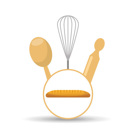 ladle: rolling pin, whisk and ladle ,fresh bakery products, vector illustration Illustration