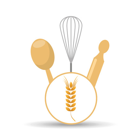 rolling pin: rolling pin, whisk and ladle ,fresh bakery products, vector illustration Illustration