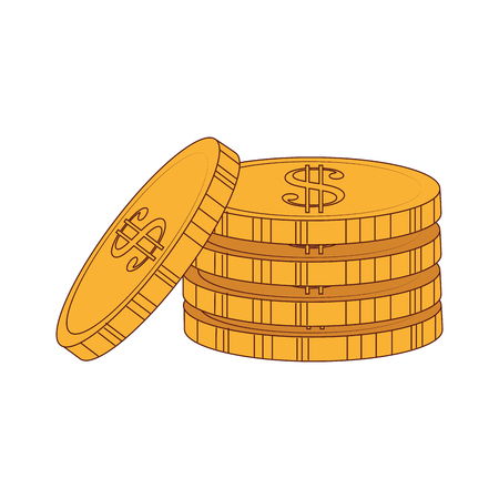 earn money: coins money gold  business economy earn stack commerce vector graphic isolated and flat illustration Illustration