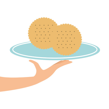 rye: tray of cookies, fresh bakery products, vector illustration