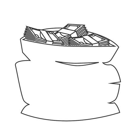 zak geld rijke economie teken financiële bank dollar business vector geïsoleerd grafisch en een flatscreen illustratie Stock Illustratie