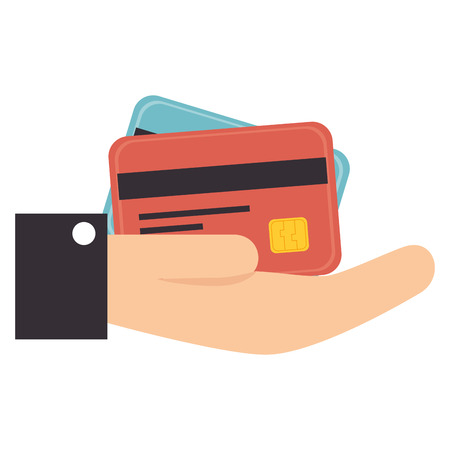 plastic money: hand card paying credit debit money pay chip transaction plastic  money vector graphic isolated and flat illustration