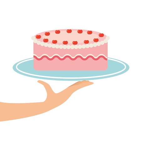 strawberry cake: tray of Strawberry cake, fresh bakery products, vector illustration