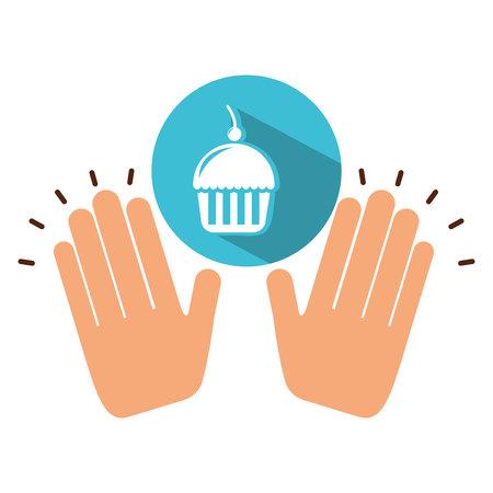 rye: holding cupcake, fresh bakery products, vector illustration