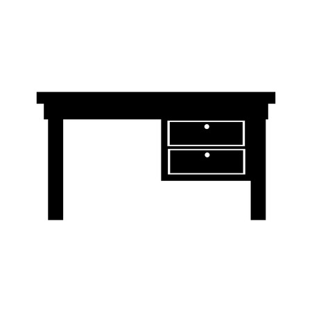 front desk: desk front drawer office supplies furniture workplace silhouette interior vector graphic isolated and flat illustration Illustration