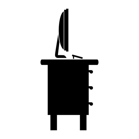 furniture computer: desk computer monitor office supplies furniture workplace silhouette interior vector graphic isolated and flat illustration