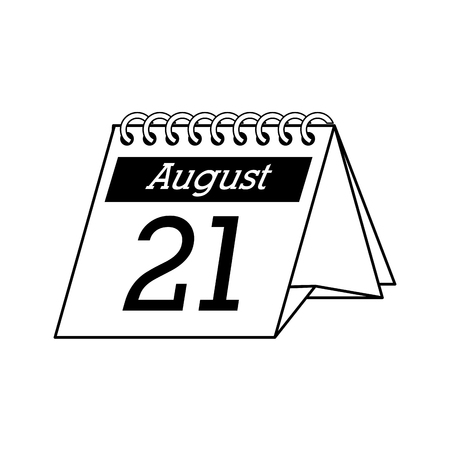 calendar desk august 21 month monthly number day office vector graphic isolated and flat illustration Illustration