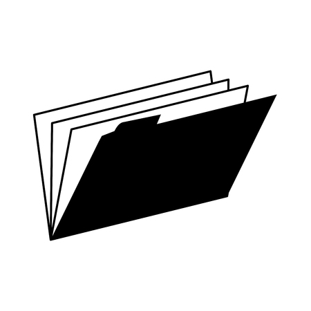 archives: folder binder open documents work archives office supplies desk  vector graphic isolated and flat illustration