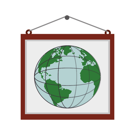 school bills: billboard globe earth wall frames planet education poster vector graphic isolated and flat illustration