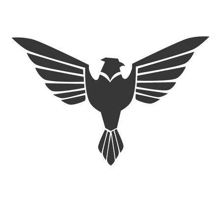 freedom nature: eagle wing front bird heaven fly eagle nature freedom complete sign stripes icon vector graphic isolated and flat illustration