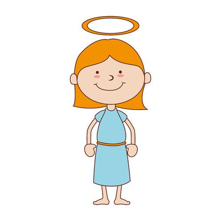 chica de halo celestial santo pelo sonriendo cuerpo cara feliz niño lindo aislado gráfico vectorial y la ilustración plana