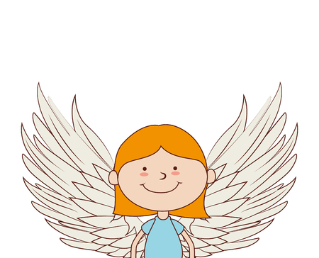 angel wing face body girl happy child cute vector graphic isolated and flat illustration Illustration
