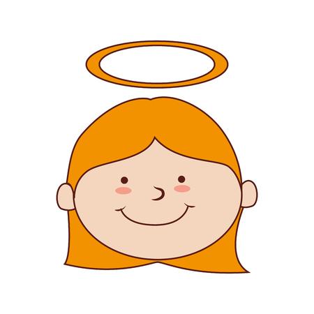 aislado niña sonriente feliz halo de niño lindo del vector gráfico e ilustración plana Ilustración de vector