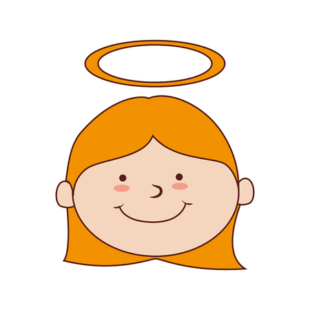 girl halo smiling happy child cute vector graphic isolated and flat illustration