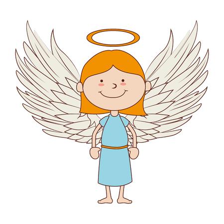 Santo Ángel celestial pelo sonriendo cuerpo cara feliz niño lindo aislado gráfico vectorial y la ilustración plana