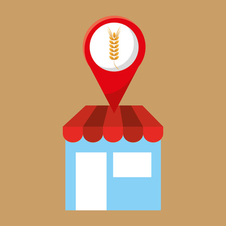 selling fresh wheat and bakery products, vector illustration Illustration