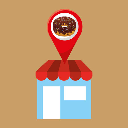 bakery products: selling fresh donuts, bakery products, vector illustration Illustration