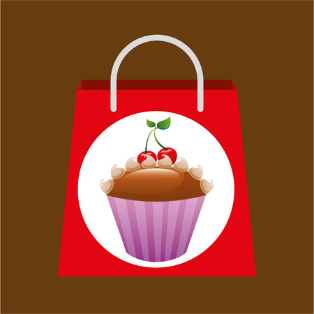 muffins: hand holding bag muffins, fresh bakery products, vector illustration Illustration