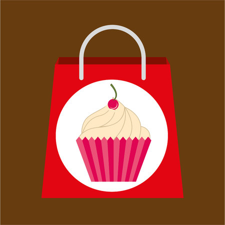 hand holding bag cupcake, fresh bakery products, vector illustration