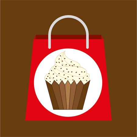 vanilla cupcake: hand holding bag vanilla cupcake, fresh bakery products, vector illustration Illustration