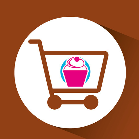 bakery products: shopping cupcakes, fresh bakery products, vector illustration Illustration