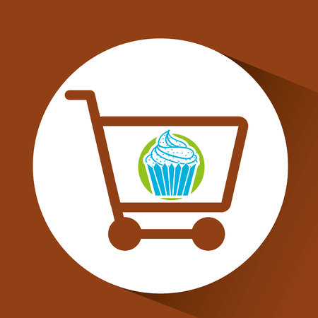 bakery products: shopping dessert, fresh bakery products, vector illustration
