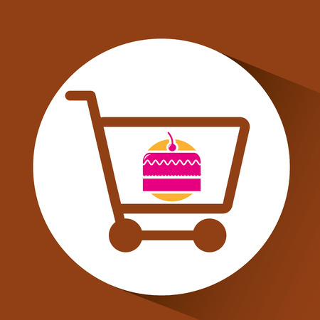 bakery products: shopping cake, fresh bakery products, vector illustration