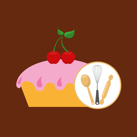 bun: rolling pin, whisk and ladle ,fresh bakery products, vector illustration Illustration