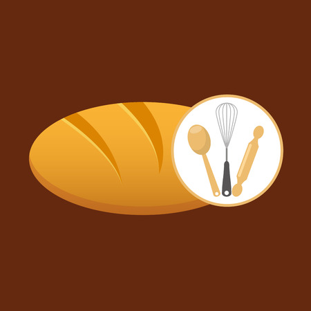 rolling pin, whisk and ladle ,fresh bakery products, vector illustration Illustration