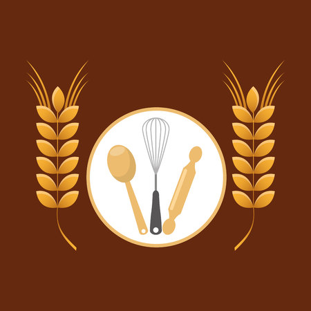 whisk: rolling pin, whisk and ladle ,fresh bakery products, vector illustration Illustration