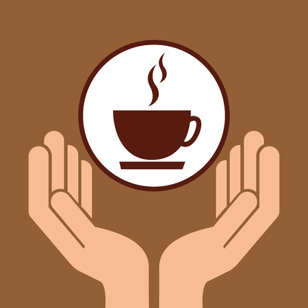 rye: holding coffee, fresh bakery products, vector illustration