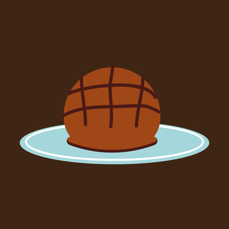 bun: tray of round loaf, fresh bakery products, vector illustration Illustration