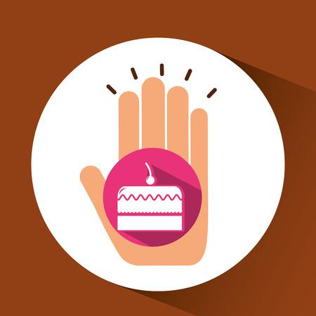 sesame seeds: cherry cake, fresh bakery products, vector illustration Illustration