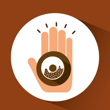 bakery products: holding donut, fresh bakery products, vector illustration