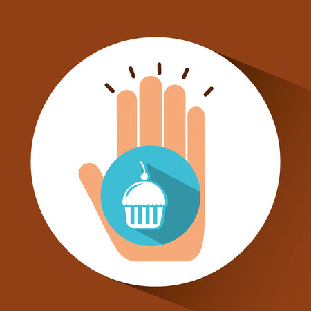 holding cupcake, fresh bakery products, vector illustration