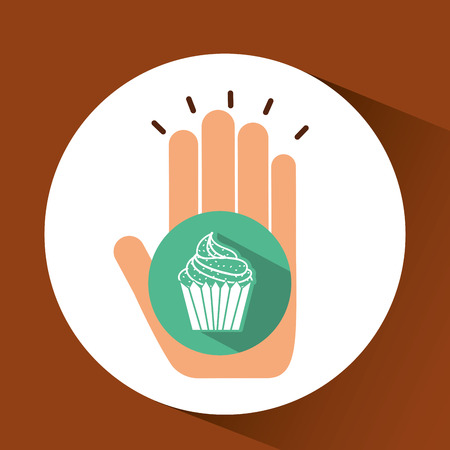 bakery products: holding muffin, fresh bakery products, vector illustration