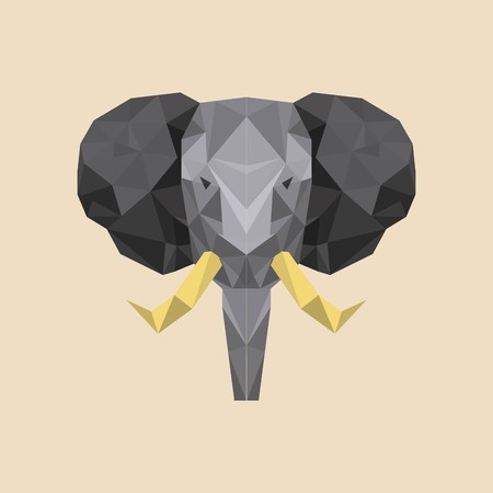 elephant low poly animal, vector illustration Illustration