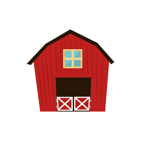 ranch house: barn farm house ranch  farmer window agriculture door rural farmhouse vector graphic isolated and flat illustration