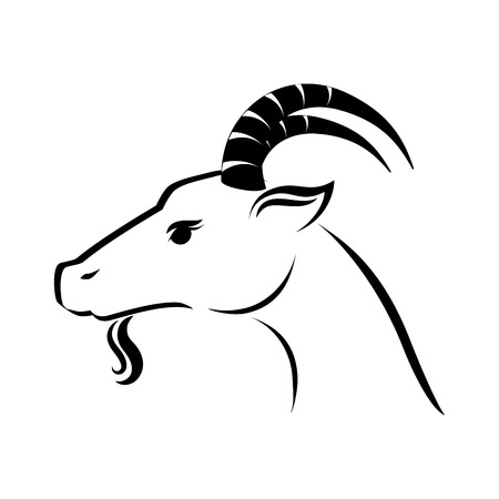 billy: goat ram face capricorn zodiac animal silhouette side eye vector graphic isolated and flat illustration