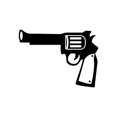antiquities: gun vintage west arms weapon handgun old ranch war vector graphic isolated and flat illustration