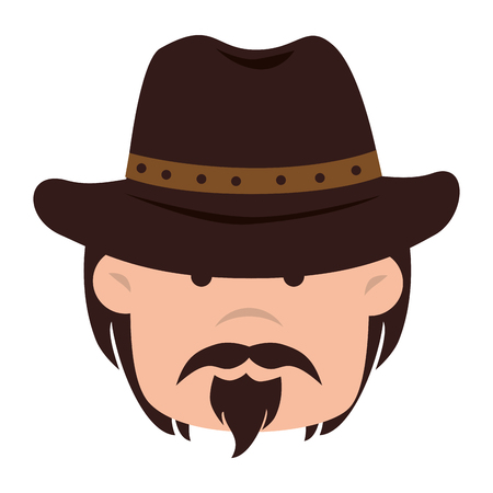 cowboy beard: cowboy hat face mustache beard eyes western gunman desert vector graphic isolated and flat illustration